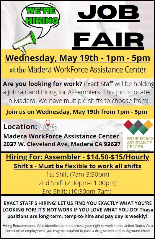 Exact Staff Job Fair 5/19/21