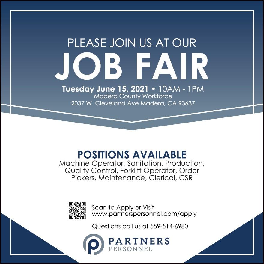 Partners Personnel Job Fair 6/16/21