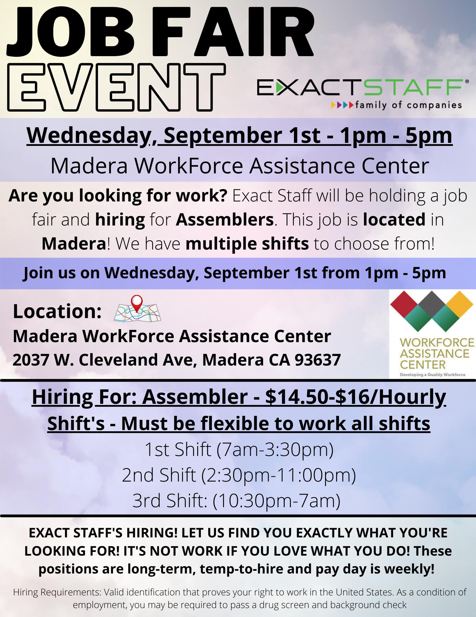 Exact Staff Job Fair 9/1/2021
