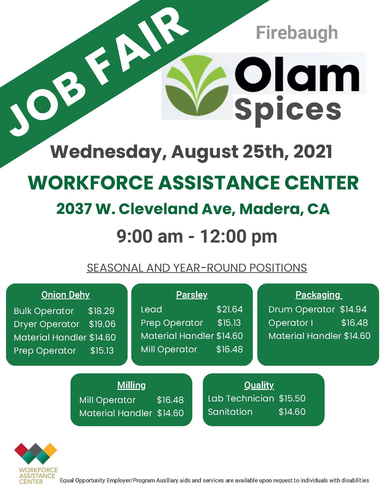 Olam Spices Job Fair 8/25/21